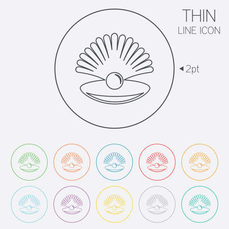 thin shell: Sea shell with pearl sign icon. Conch symbol. Travel icon. Thin line circle web icons with outline. Vector Illustration