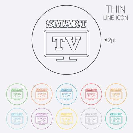 set de television: Widescreen signo icono de Smart TV. Televisi�n s�mbolo. Iconos de web de c�rculo finas l�neas con contorno. Vector