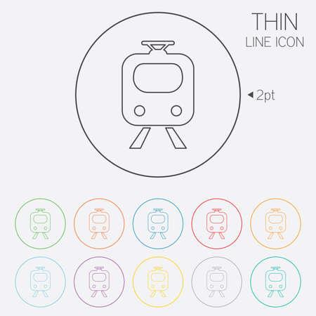 Subway Sign Icon Train Underground Symbol Thin Line Circle