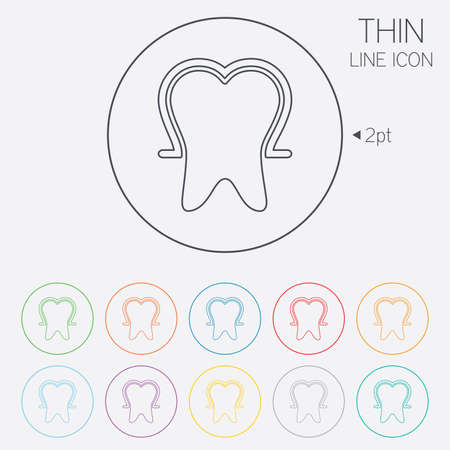 enamel: Tooth enamel protection sign icon. Dental toothpaste care symbol. Healthy teeth. Thin line circle web icons with outline. Vector Illustration