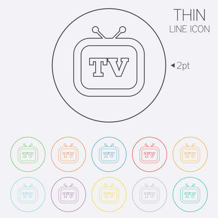 television set: Retro TV sign icon. Television set symbol. Thin line circle web icons with outline. Vector