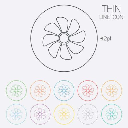 Ventilazione sign icon. Simbolo ventilatore. Thin Line cerchio icone web con contorno. Vettore Archivio Fotografico - 34237437