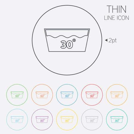 washable: Icono Wash. Lavar a m�quina a 30 grados s�mbolo. Iconos de web de c�rculo finas l�neas con contorno. Vector