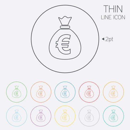eur: Money bag sign icon. Euro EUR currency symbol. Thin line circle web icons with outline. Vector