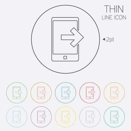 Outcoming call sign icon. Smartphone symbol. Thin line circle web icons with outline. Vector Vector