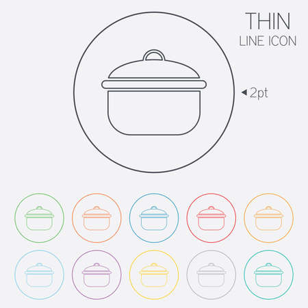 stew pan: Cooking pan sign icon. Boil or stew food symbol. Thin line circle web icons with outline. Vector