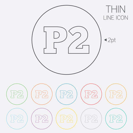 second floor: Parking second floor sign icon. Car parking P2 symbol. Thin line circle web icons with outline. Vector