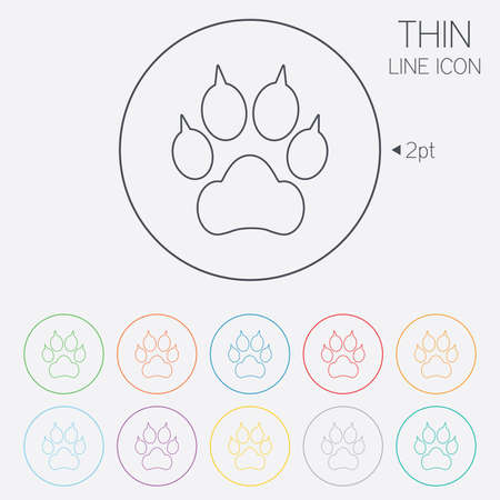 clutches: Dog paw with clutches sign icon. Pets symbol. Thin line circle web icons with outline. Vector