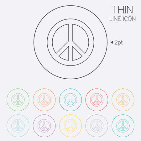 pacificist: Peace sign icon. Hope symbol. Antiwar sign. Thin line circle web icons with outline. Vector Illustration