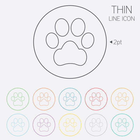Dog paw sign icon. Pets symbol. Thin line circle web icons with outline. Vector Illustration