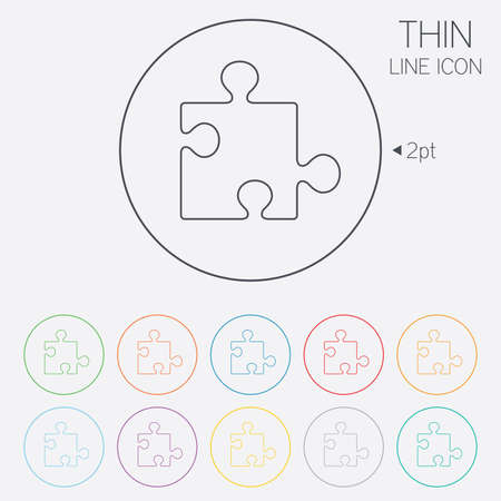 Puzzle piece sign icon. Strategy symbol. Thin line circle web icons with outline. Vector Stock Vector - 34236841