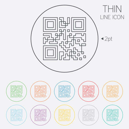 Qr code sign icon. Scan code symbol. Coded word - success! Thin line circle web icons with outline. Vector