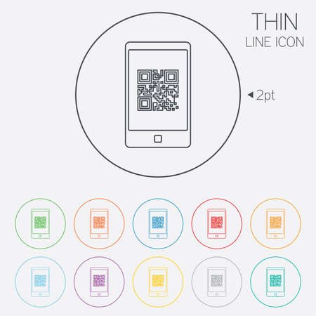 coded: Qr code sign icon. Scan code in smartphone symbol. Coded word - success! Thin line circle web icons with outline. Vector Illustration