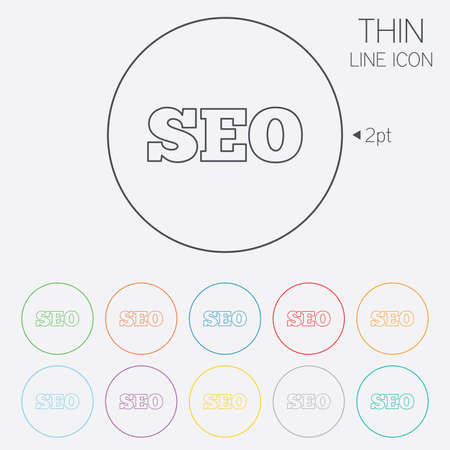 SEO sign icon. Search Engine Optimization symbol. Thin line circle web icons with outline. Vector