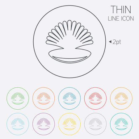 thin shell: Sea shell sign icon. Conch symbol. Travel icon. Thin line circle web icons with outline. Vector