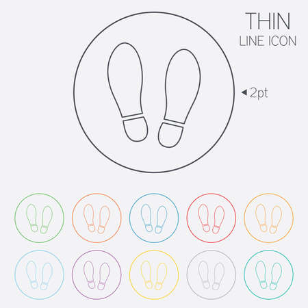 shoe print: Imprint soles shoes sign icon. Shoe print symbol. Thin line circle web icons with outline. Vector