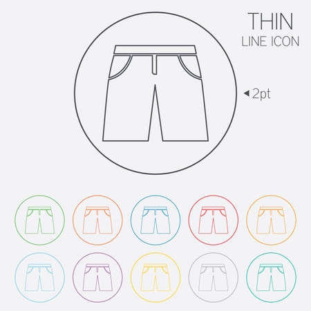 beachwear: Mens Bermuda shorts sign icon. Clothing symbol. Thin line circle web icons with outline. Vector