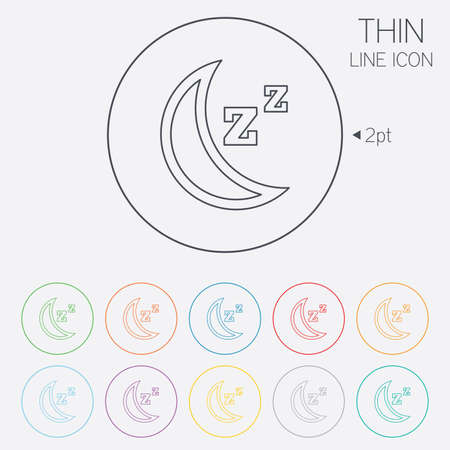 standby: Sleep sign icon. Moon with zzz button. Standby. Thin line circle web icons with outline. Vector Illustration