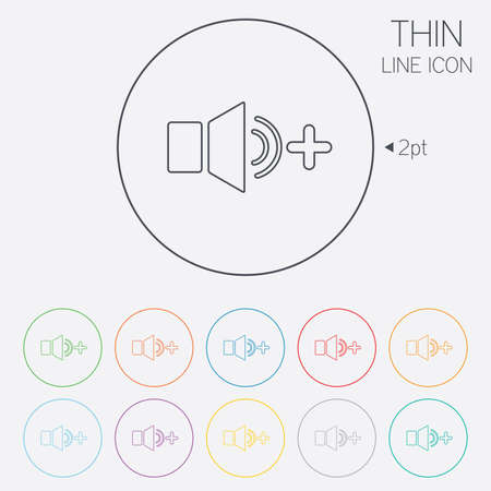 louder: Speaker volume louder sign icon. Sound symbol. Thin line circle web icons with outline. Vector