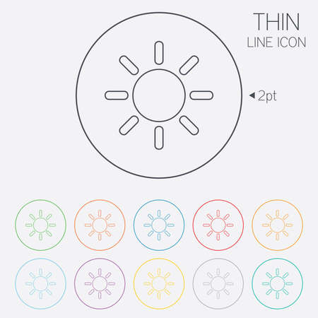 solarium: Sun sign icon. Solarium symbol. Heat button. Thin line circle web icons with outline. Vector