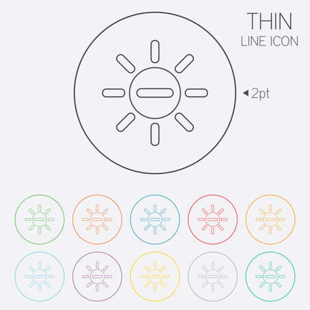 brightness: Sun minus sign icon. Heat symbol. Brightness button. Thin line circle web icons with outline. Vector