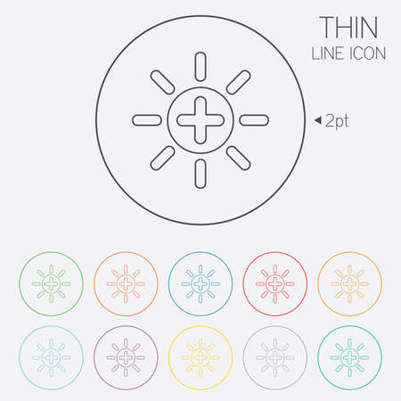 brightness: Sun plus sign icon. Heat symbol. Brightness button. Thin line circle web icons with outline. Vector