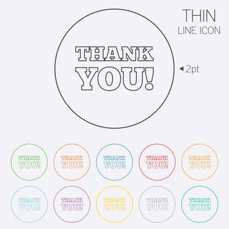 gratitudine: Grazie firmare icona. Simbolo Gratitudine. Thin Line cerchio icone web con contorno. Vettore Vettoriali