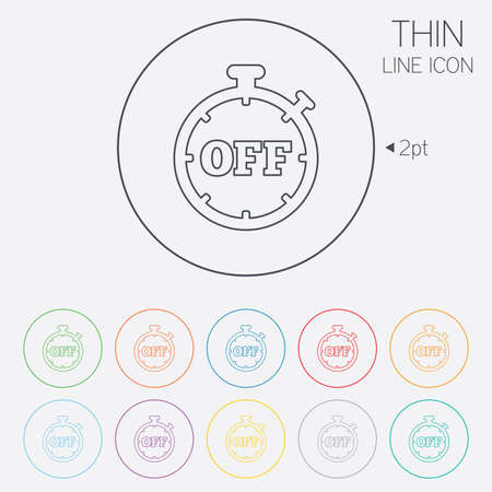 Timer Off Sign Icon Stopwatch Symbol Thin Line Circle Web Icons