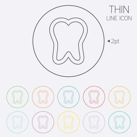 stomatologist: Tooth sign icon. Dental care symbol. Thin line circle web icons with outline. Vector Illustration
