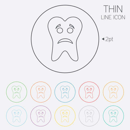 aching: Tooth sad face sign icon. Aching tooth symbol. Unhealthy teeth. Thin line circle web icons with outline. Vector
