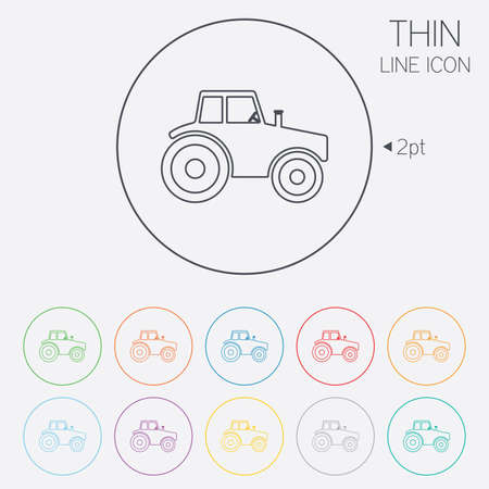 tractor sign: Tractor sign icon. Agricultural industry symbol. Thin line circle web icons with outline. Vector