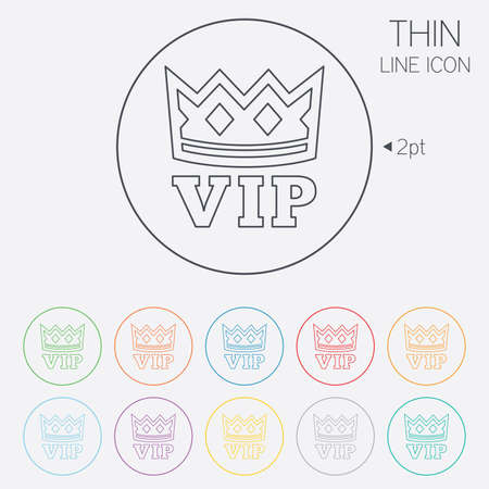 very important person: Vip sign icon. Membership symbol. Very important person. Thin line circle web icons with outline. Vector Illustration