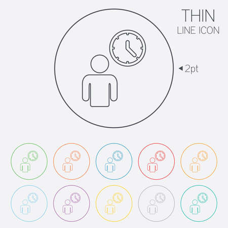 waiting in line: Person waiting sign icon. Time symbol. Queue. Thin line circle web icons with outline. Vector