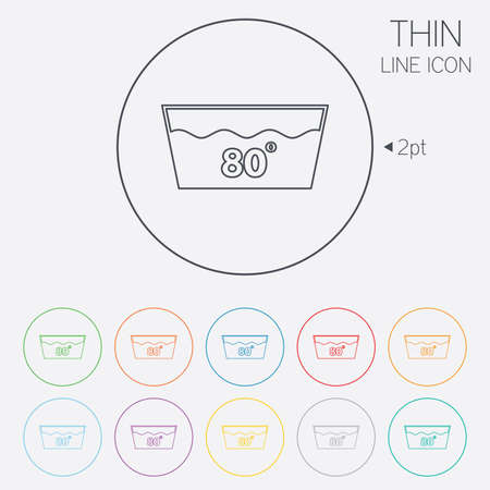 washable: Wash icon. Machine washable at 80 degrees symbol. Thin line circle web icons with outline. Vector Illustration
