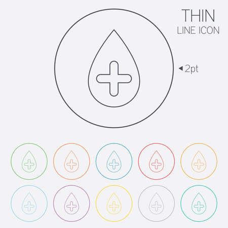 Water drop with plus sign icon. Softens water symbol. Thin line circle web icons with outline. Vector