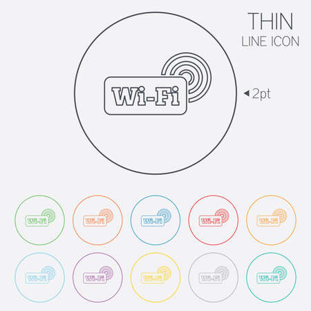 Free wifi sign. Wifi symbol. Wireless Network icon. Wifi zone. Thin line circle web icons with outline. Vector Vector
