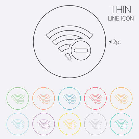 minus sign: Wifi minus sign. Delete Wifi symbol. Wireless Network icon. Wifi zone. Thin line circle web icons with outline. Vector Illustration