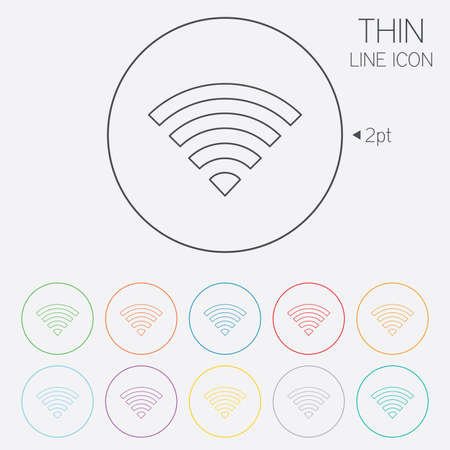 wifi sign: Wifi sign. Wifi symbol. Wireless Network icon. Wifi zone. Thin line circle web icons with outline. Vector