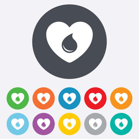 11: Blood donation sign icon. Medical donation. Heart with blood drop. Round colourful 11 buttons. Vector