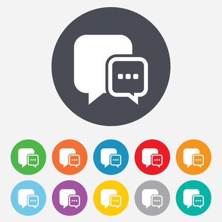 three dots: Chat sign icon. Speech bubble with three dots symbol. Communication chat bubble. Round colourful 11 buttons. Vector