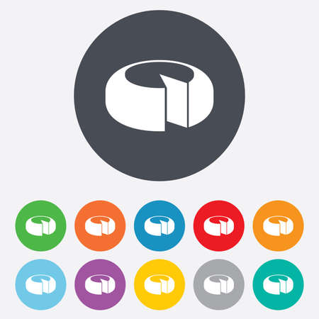 11: Cheese wheel sign icon. Sliced cheese symbol. Round cheese. Round colourful 11 buttons. Vector
