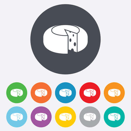 11: Cheese wheel sign icon. Sliced cheese symbol. Round cheese with holes. Round colourful 11 buttons. Vector Illustration