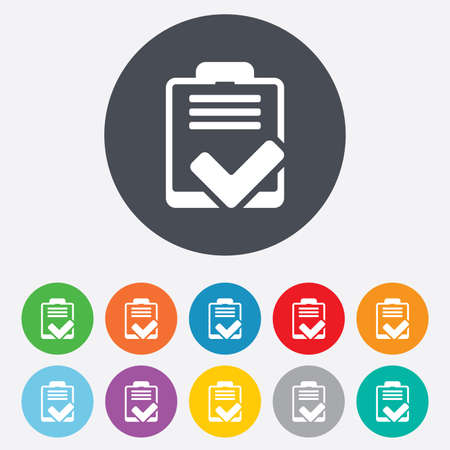 feedback form: Checklist sign icon. Control list symbol. Survey poll or questionnaire feedback form. Round colourful 11 buttons. Vector