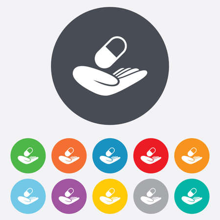 Medical insurance sign icon. Health insurance. Pill symbol. Round colourful 11 buttons. Vector Vector