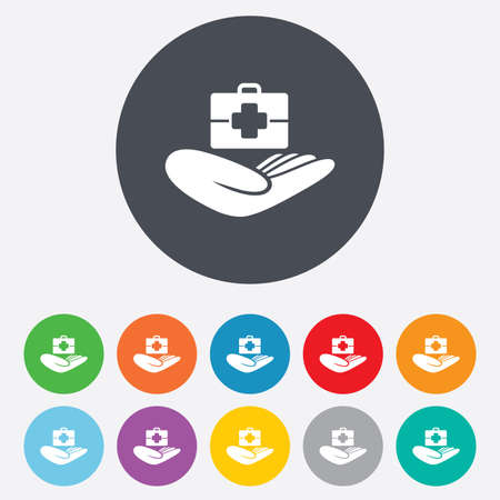 Medical insurance sign icon. Health insurance. Doctor case. Round colourful 11 buttons. Vector Ilustrace