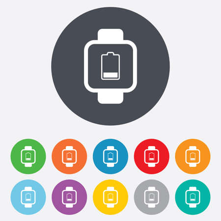 low battery: Smart watch sign icon. Wrist digital watch. Low battery energy symbol. Round colourful 11 buttons. Vector