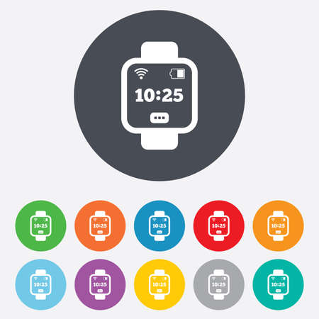 Smart watch sign icon. Wrist digital watch. Wi-fi and battery energy symbol. Round colourful 11 buttons. Vector Vector