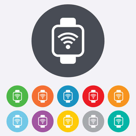 Smart watch sign icon. Wrist digital watch. Wi-fi internet symbol. Round colourful 11 buttons. Vector Vector