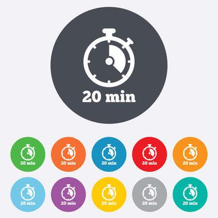 minutes: Timer sign icon. 20 minutes stopwatch symbol. Round colourful 11 buttons. Vector