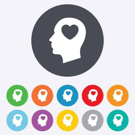 Head with heart sign icon. Male human head in love symbol. Round colourful 11 buttons. Vector Vector
